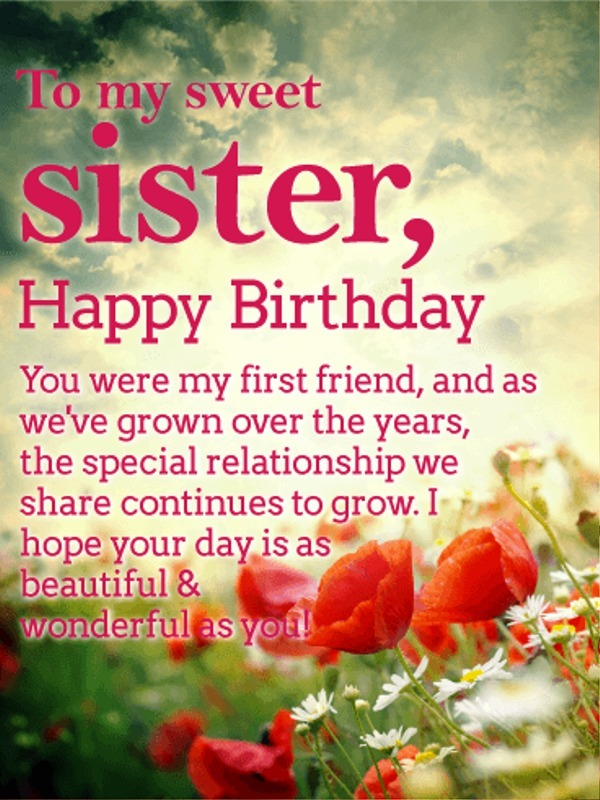 To My Sweet Sister Happy Birthday