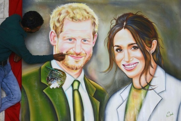 Oil Painting Of Prince Harry And Meghan Markle