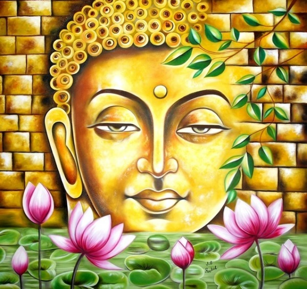 Oil Painting of Gautama Buddha Ji