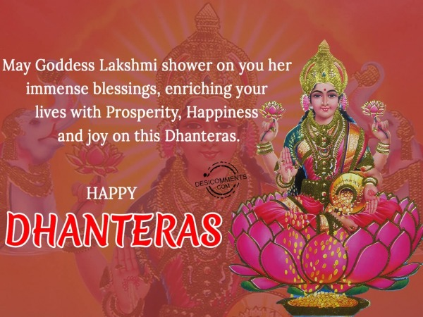 Picture: May goddess lakshmi shower on you her immense blessings, Happy Dhanteras
