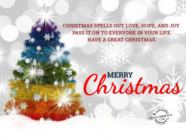 Christmas spells out love, hope and joy, Merry Christmas