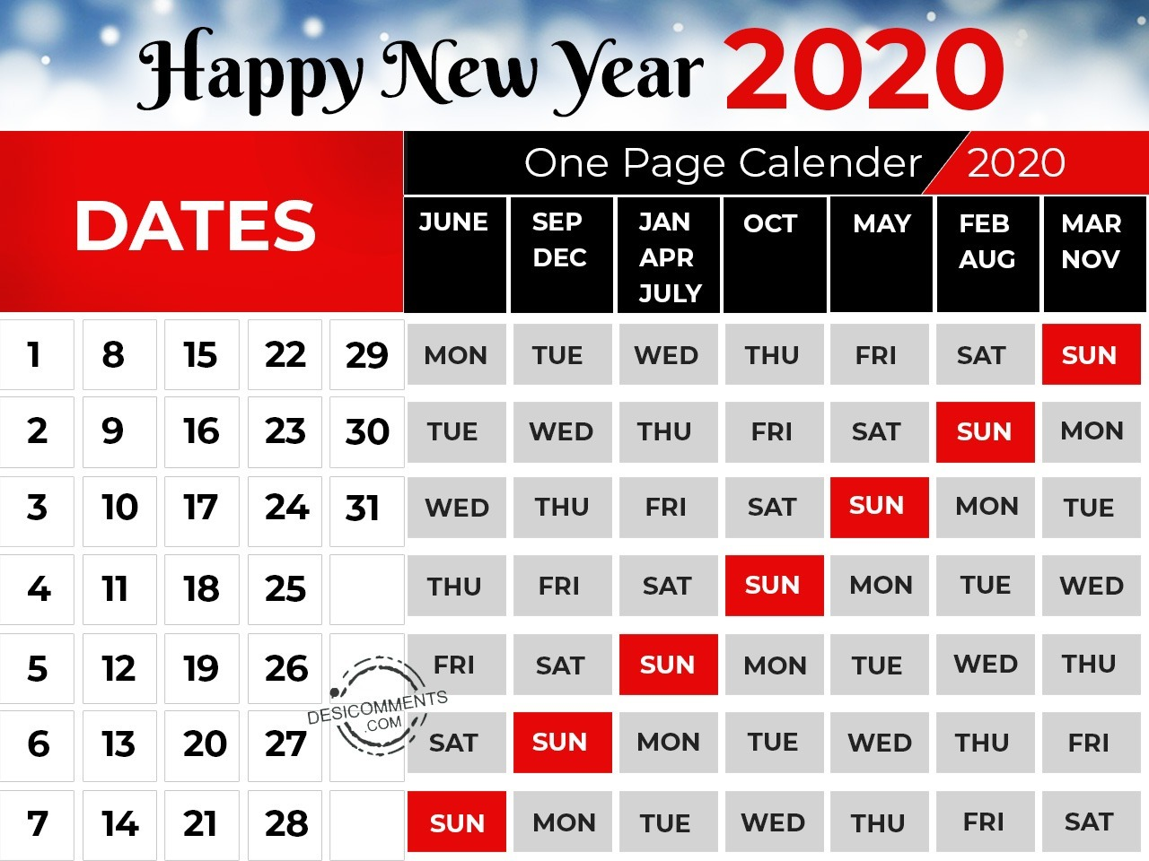 one page calendar happy new year com