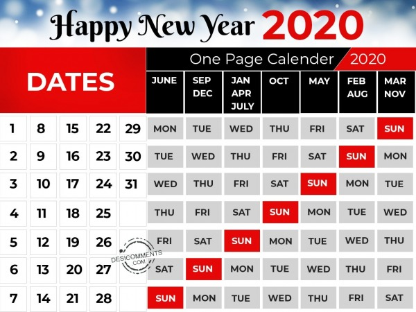 One Page Calendar 2020, Happy New Year