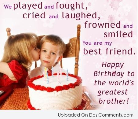 Picture: Birthday wishes for brother from sister