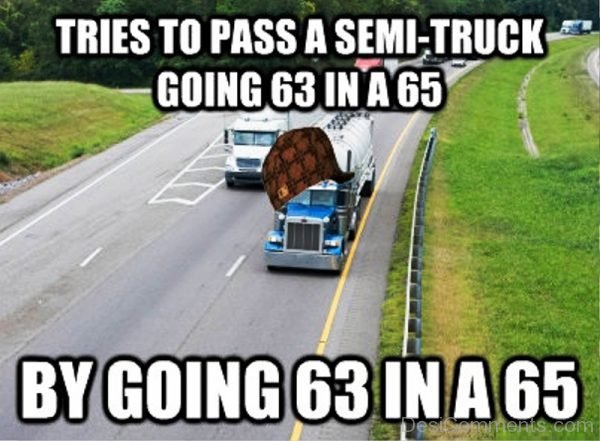 Tries To Pass A Semi Truck