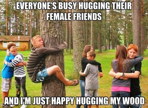Everyones Busy Hugging Their Female Friends