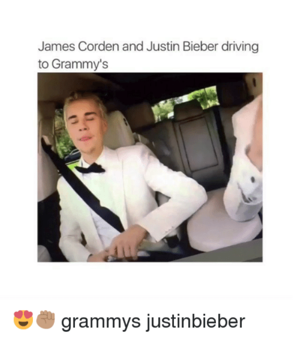James Corden And Justin Bieber Driving To Grammys
