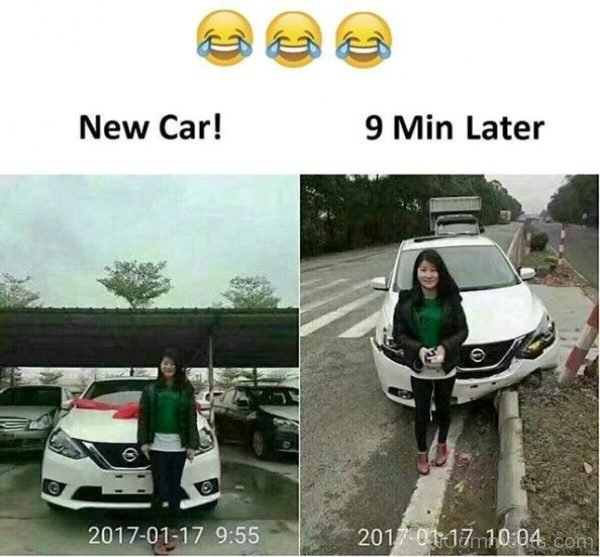 New Car Vs After 9 Min Later