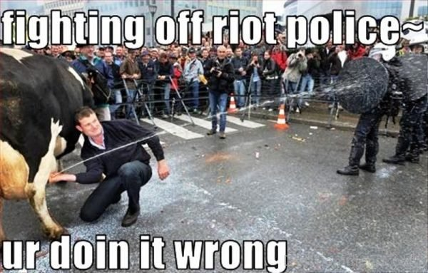 Fighting Off Riot Police