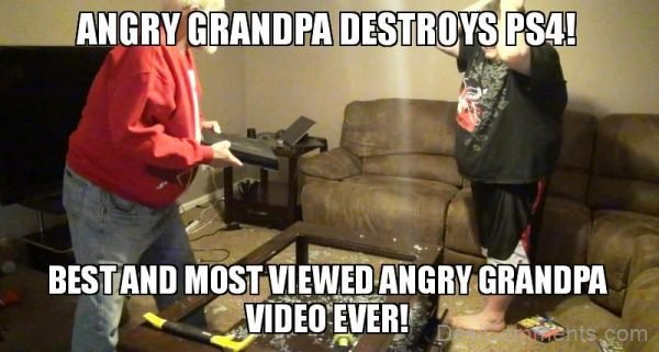 Angry Grandpa Destroys PS4