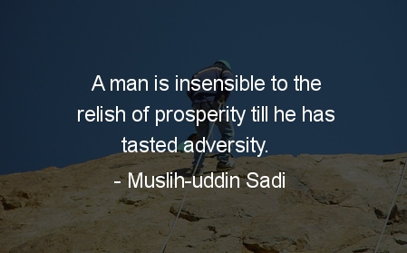 A man is insensible to the relish of prosperity till he has tasted adversity
