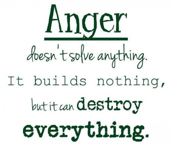 Quotes About Anger And Rage: Anger Doesn't Solve Anything It Builds Nothing, But It Can