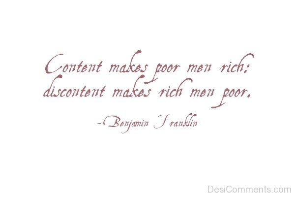 Contentment Makes Poor Men Rich