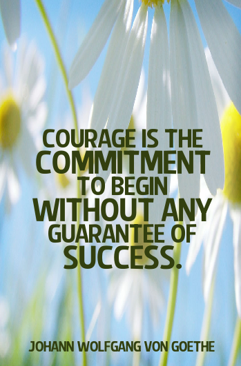 Courage Is The Commitment To Begin Without Any Guarantee Of Success