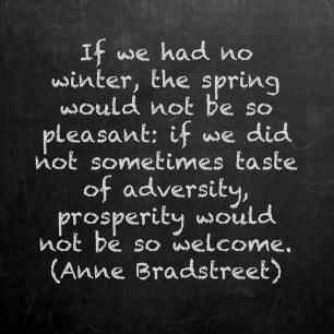 If we had no winter the spring would not be so pleasant