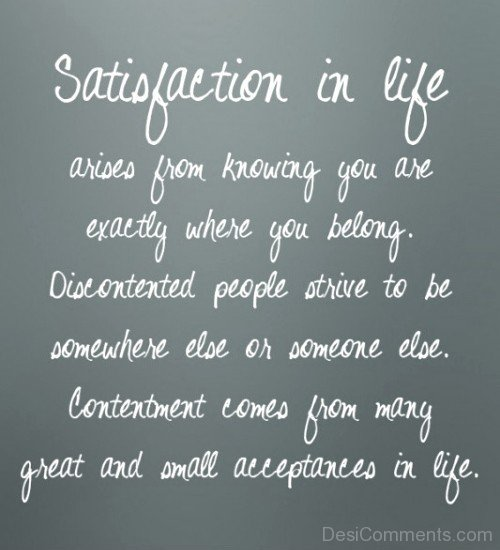 Satisfaction In Life