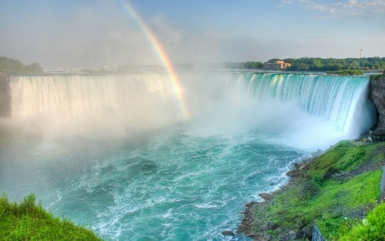 Beautiful Waterfall With Rainbow