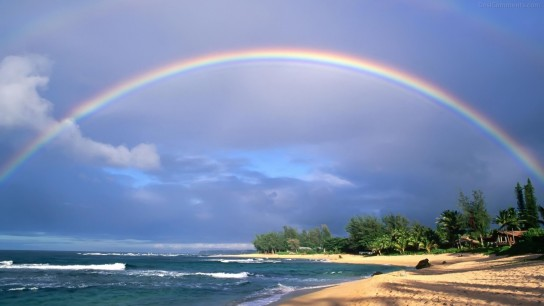 Rainbow On Beach