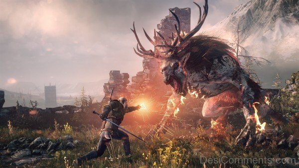 Geralt of Rivia Fighting With Creature