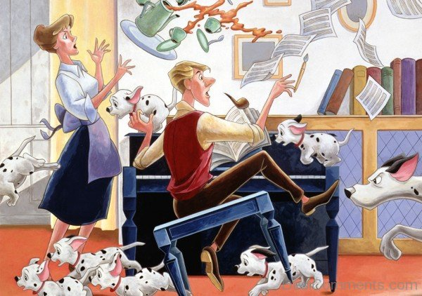 101 dalmatians With His Owner-DC003