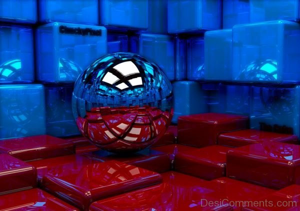 Wallpaper Ball, Cubes, Metal, Blue, Red, Reflection-DC033
