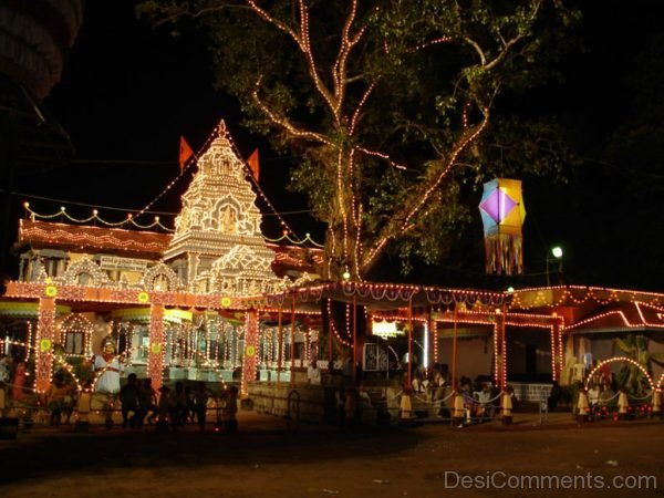 Night View Of Sri Vinayaka Temple,Anegudde-DC241