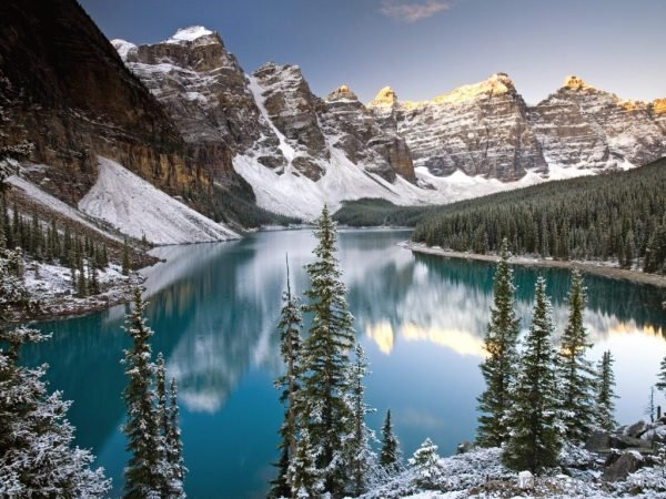 Winter Mountain And Lake
