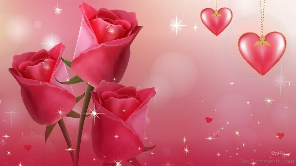 Pink Roses And Hearts - DesiComments.com