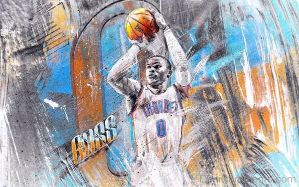 Colorful Wallpaper Of Russell Westbrook