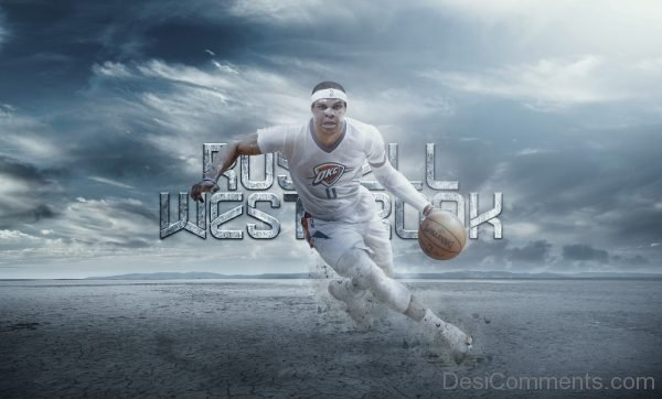 Wallpaper Of Russell Westbrook With Basketball