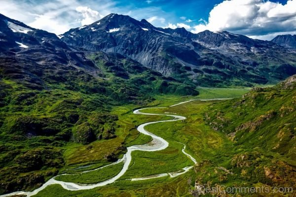 Alaska River Water Aerial View Mountains Landscape
