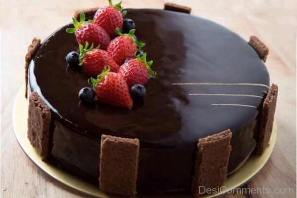 Happy Birthday With Chocolate Cake - Nice Image