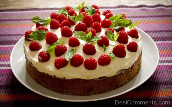 Happy Birthday With Stawberry Cake Image