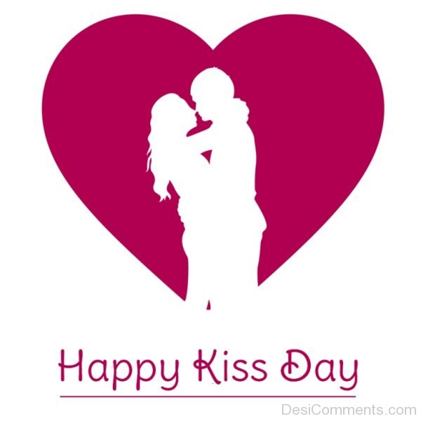 Happy Kiss Day Loving Couple Heart Picture