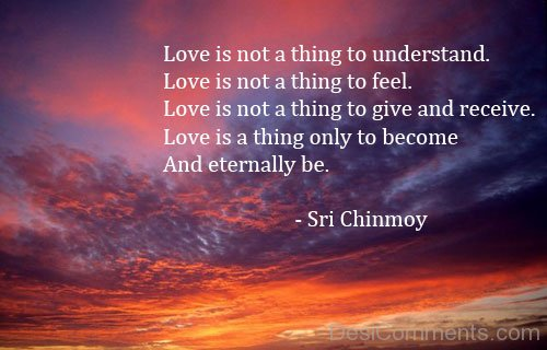 Love Is Not A Thing To Understand