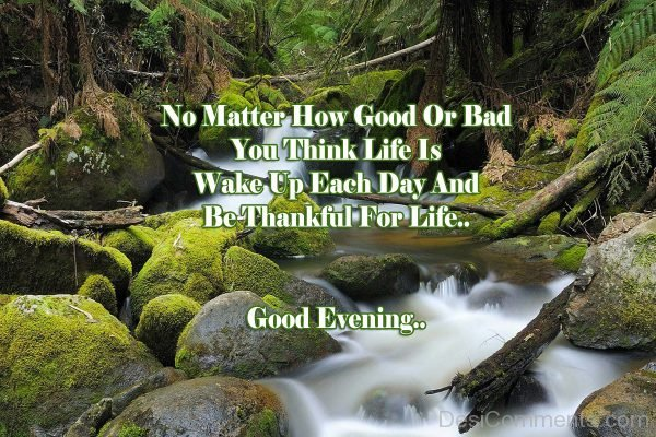 No Matter How Good Or Bad You THink Life Is Wake Up Each Day