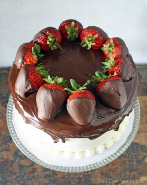 Tasty Chocolate With Stawberry Cake
