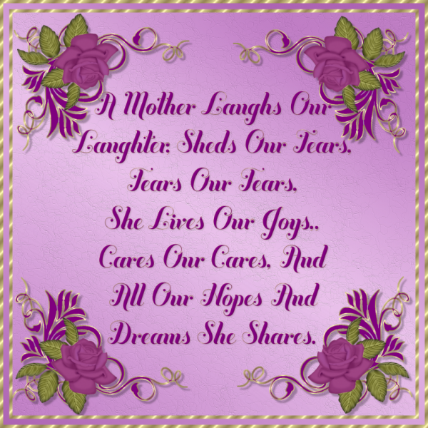 Picture: A Mother Laughs Our Laughter Shads Our Lears