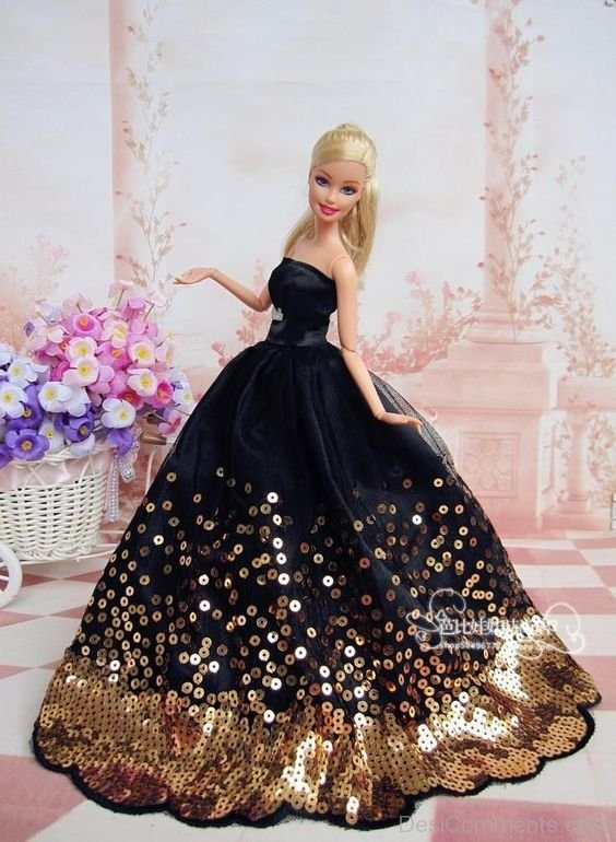 Barbie Doll Wearing Black Dress