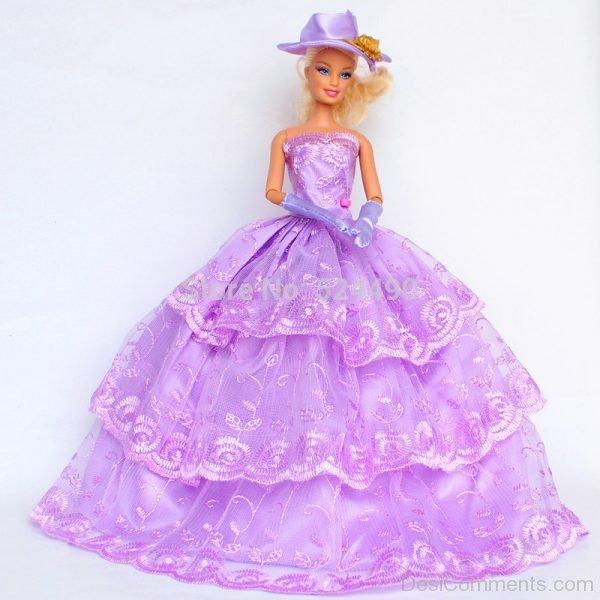 Barbie Doll Wearing Purple Gown