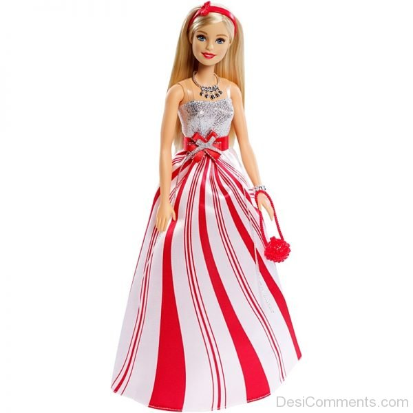 Barbie Doll Wearing White And Red Gown
