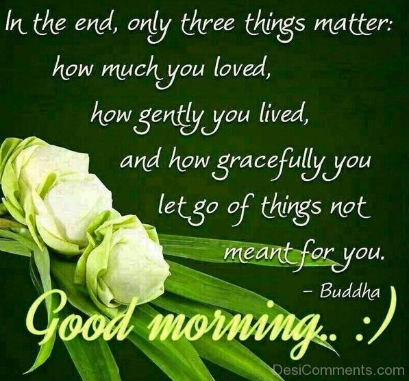 Morning Quote: In The End Only Three Matter