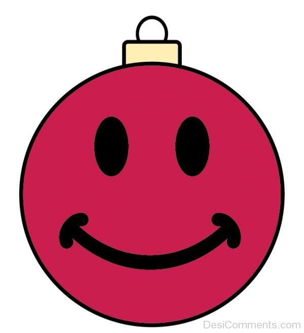 Holiday Smiley Face Ornament Red