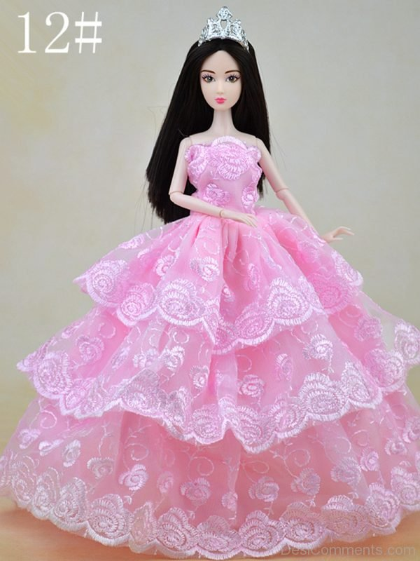 Nice Barbie Doll Wearing Pink Dress Image