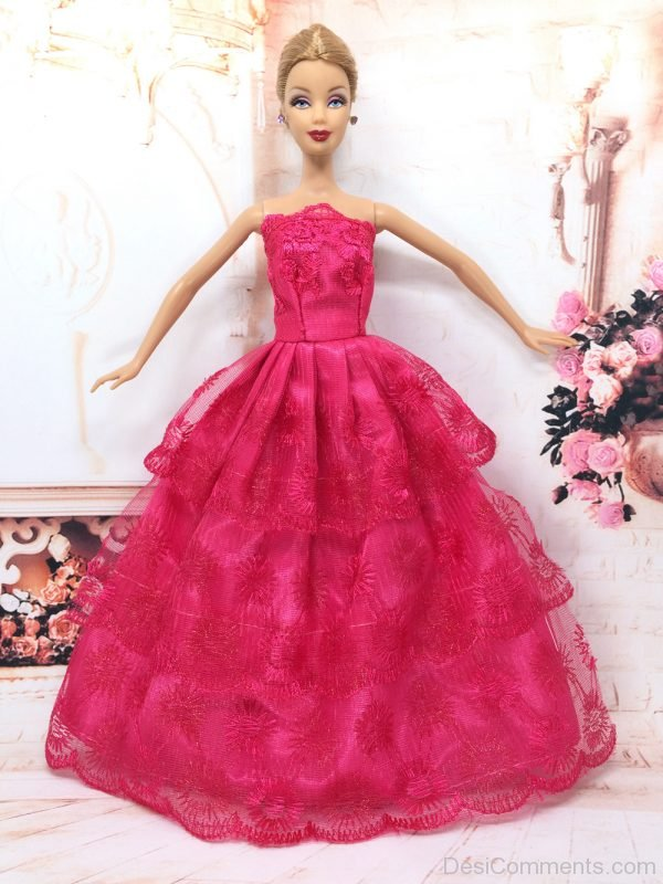 Nice Barbie Doll Wearing Red Dress - Image