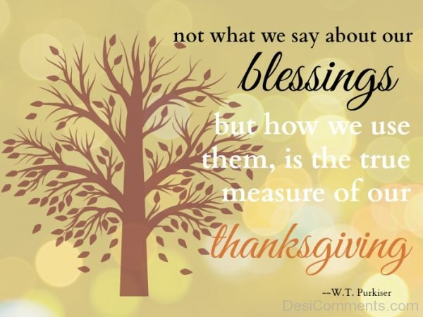 Not What We Say About Our Blessings