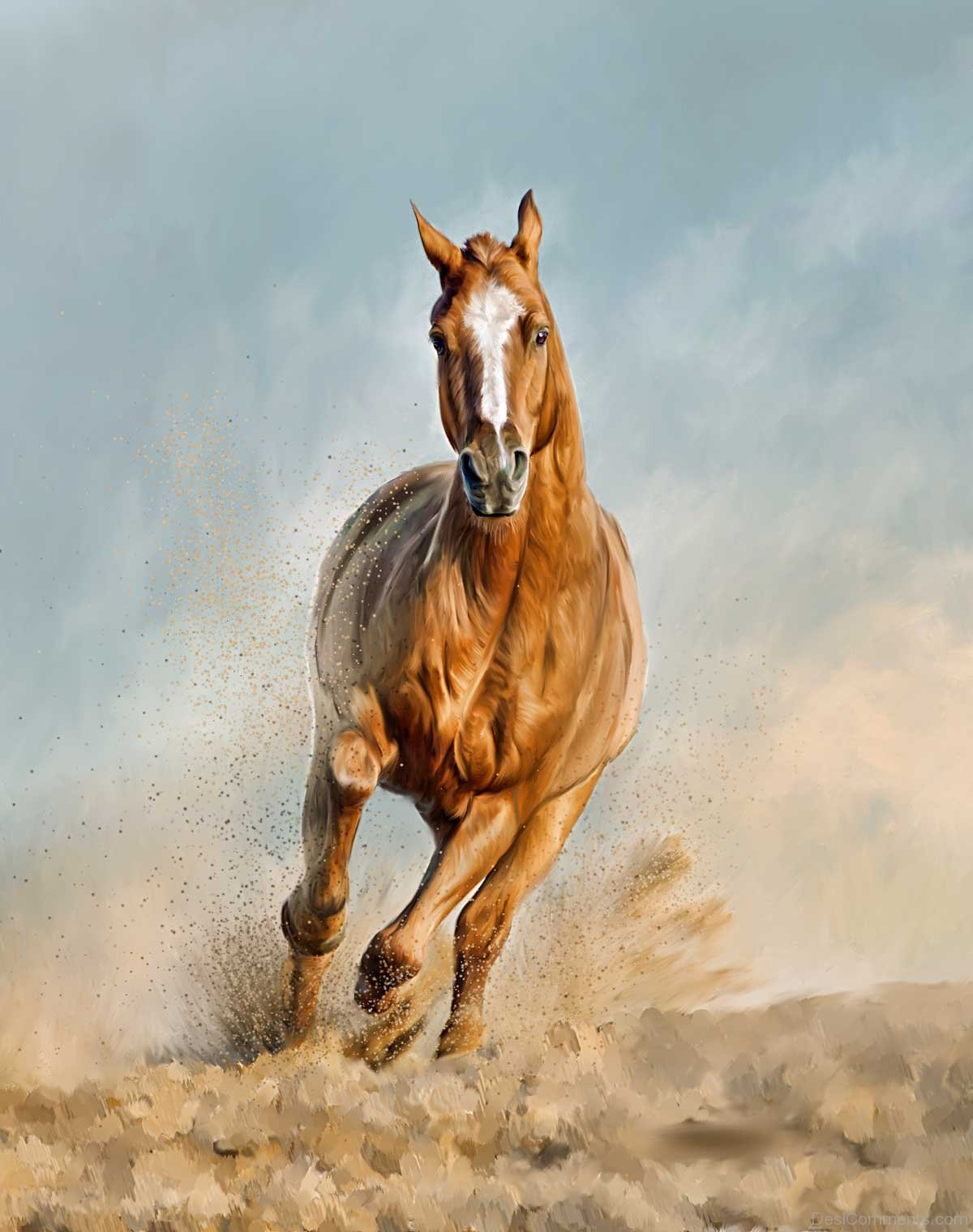 Painting Chestnut Horse Running Desicomments Com