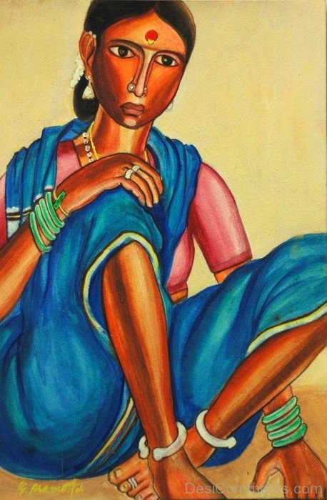 Woman In Blue Saree Water Color Painting