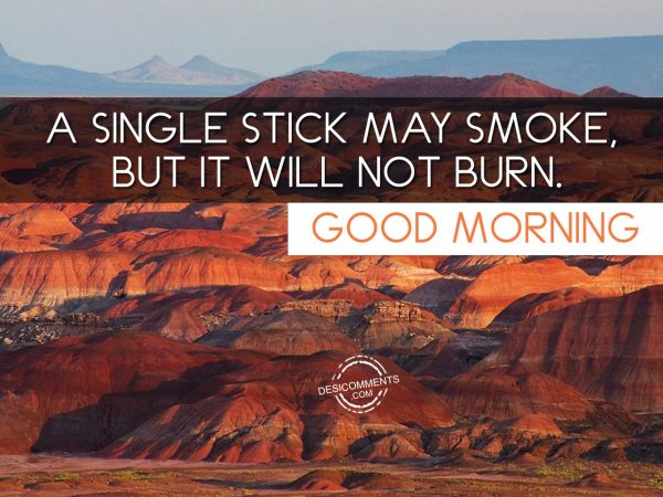 A Single Stick May Smoke But It Will Not Burn