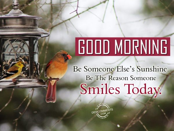 Be Someone Else Sunshine. Be The Reason Someone Smile Today.